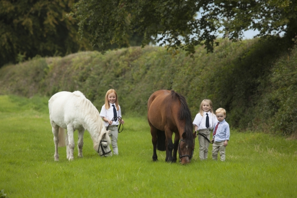 Kevin and Angela ORyan family portrait with ponies Horse photographer Ireland Professional Ni Riain Fine Art Equine Photography